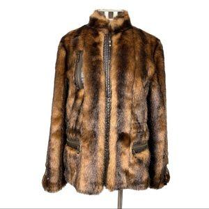 Balmain Faux Brown Fur & Leather Jacket Size 44